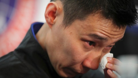 <p>               Malaysian badminton player Lee Chong Wei wipes his tears during a press conference in Putrajaya, Malaysia, Thursday, June 13, 2019. Former World No. 1-ranked Lee has announced his retirement from badminton after 19 years following his battle with cancer. (AP Photo/Vincent Thian)             </p>