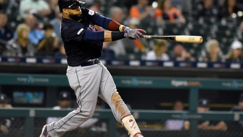 <p>               Cleveland Indians first baseman Carlos Santana singles against the Detroit Tigers in the top of the seventh inning of a baseball game, Friday, June 14, 2019, in Detroit. (AP Photo/Jose Juarez)             </p>