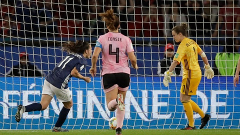<p>               Argentina's Florencia Bonsegundo, left, celebrates after scoring an equaliser goal during the Women's World Cup Group D soccer match between Scotland and Argentina at Parc des Princes in Paris, France, Wednesday, June 19, 2019. Bonsegundo scored in the extra time and the match ended in a 3-3 draw. (AP Photo/Alessandra Tarantino)             </p>