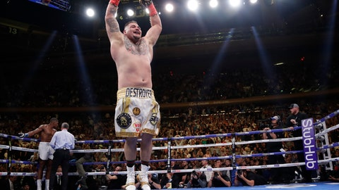 <p>               Andy Ruiz celebrates after stopping Anthony Joshua during the seventh round of a heavyweight championship boxing match Saturday, June 1, 2019, in New York. (AP Photo/Frank Franklin II)             </p>