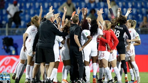 <p>               Canadian team celebrate after their 1-0 win in their Women's World Cup Group E soccer match between Canada and Cameroon in Montpellier, France, Monday, June 10, 2019. (AP Photo/Claude Paris)             </p>