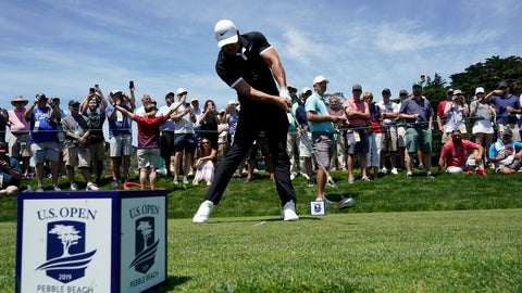 <p>               Brooks Koepka hits his tee shot on the ninth hole during a practice round for the U.S. Open Championship golf tournament Monday, June 10, 2019, in Pebble Beach, Calif. (AP Photo/David J. Phillip)             </p>