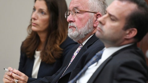 <p>               FILE - In this June 11, 2019 file photo, William Strampel, center, the ex-dean of MSU's College of Osteopathic Medicine and former boss of Larry Nassar, appears during closing arguments in his trial before Judge Joyce Draganchuk at Veterans Memorial Courthouse in Lansing, Mich. Strampel was found guilty Wednesday of neglect of duty and misconduct in office but acquitted on a more serious criminal sexual conduct charge. (J. Scott Park/Jackson Citizen Patriot via AP File)             </p>