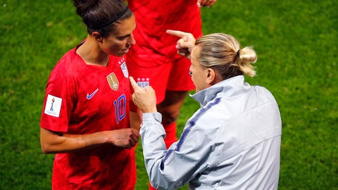<p>               United States' coach Jill Ellis gestures as she talks to her player Carli Lloyd during the Women's World Cup Group F soccer match between the United States and Thailand at the Stade Auguste-Delaune in Reims, France, Tuesday, June 11, 2019. (AP Photo/Francois Mori)             </p>