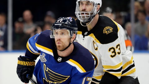 <p>               Boston Bruins defenseman Zdeno Chara (33), of Slovakia, wears a mask to protect his injured jaw as he and St. Louis Blues left wing Jaden Schwartz (17) play during the second period of Game 6 of the NHL hockey Stanley Cup Final Sunday, June 9, 2019, in St. Louis. (AP Photo/Jeff Roberson)             </p>