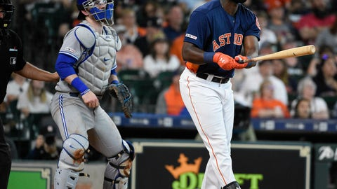 <p>               Houston Astros' Yordan Alvarez, right, watches his solo home run off Toronto Blue Jays starting pitcher Clayton Richard during the third inning of a baseball game, Saturday, June 15, 2019, in Houston. (AP Photo/Eric Christian Smith)             </p>