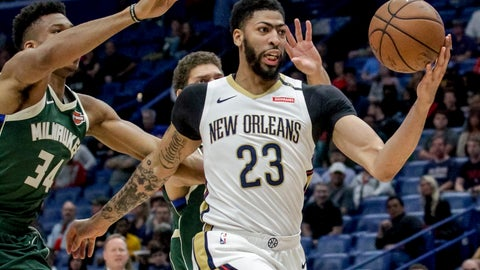 <p>               FILE - In this Tuesday, March 12, 2019 file photo, New Orleans Pelicans forward Anthony Davis (23) takes an outlet pass against Milwaukee Bucks forward Giannis Antetokounmpo (34) in the first half of an NBA basketball game in New Orleans. Pelicans basketball operations chief David Griffin says the timing of next week's NBA draft won't necessarily raise urgency to trade disgruntled six-time All-Star Anthony Davis. The Pelicans have the first overall pick in the June 20 NBA draft and likely could acquire more high picks by dealing Davis by then.(AP Photo/Scott Threlkeld, File)             </p>
