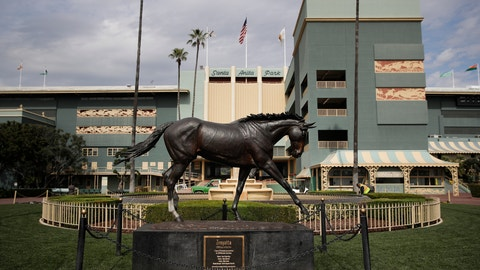 <p>               FILE - In this March 5, 2019, file photo, a statue of Zenyatta stands in the paddock gardens area at Santa Anita Park in Arcadia, Calif. California Gov. Gavin Newsom is supporting a state Senate bill that would give the California Horse Racing Board authority to quickly suspend a meet license to protect the health and safety of horses or riders. The announcement Thursday, May 30, 2019, comes amid deaths of 26 horses at Santa Anita since Dec. 26. (AP Photo/Jae C. Hong, File)             </p>