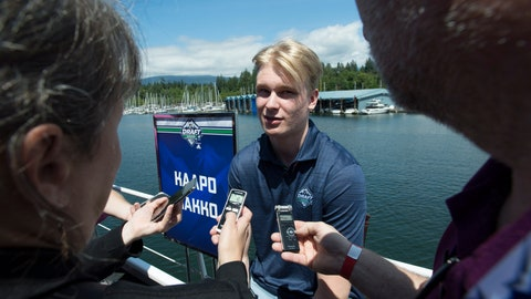 <p>               Top prospect Kaapo Kakko, of Finland, speaks to the media during an NHL hockey draft top prospects media availability in Vancouver, British Columbia, Thursday, June 20, 2019. (Jonathan Hayward/The Canadian Press via AP)             </p>