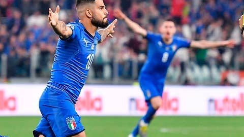 <p>               Italy's Lorenzo Insigne celebrates after scoring during the Euro 2020 group J qualifying soccer match between Italy and Bosnia- Herzegovina at the Allianz Stadium in Turin, Italy, Tuesday, June 11, 2019. (Alessandro Di Marco/ANSA via AP)             </p>