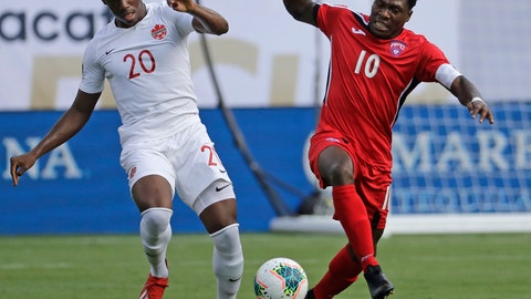 <p>               Canada's Jonathan David (20) battles Cuba's Aricheell Hernandez (10) during the first half of their CONCACAF Golf Cup soccer match in Charlotte, N.C., Sunday, June 23, 2019. (AP Photo/Chuck Burton)             </p>