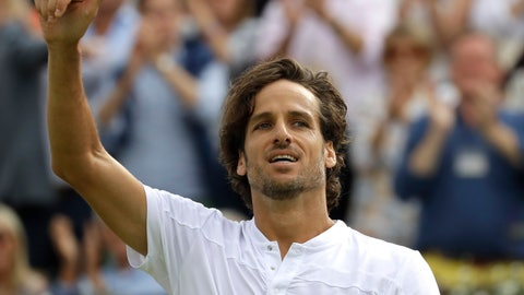 <p>               Feliciano Lopez of Spain reacts at match point after winning against Milos Raonic of Canada during their quarterfinal singles match at the Queens Club tennis tournament in London, Friday, June 21, 2019. (AP Photo/Kirsty Wigglesworth)             </p>