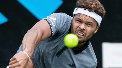<p>               Jo-Wilfried Tsonga serves the ball to Mischa Zverev during their first round match at the ATP tennis tournament in Stuttgart, Germany, Monday, June 10, 2019. (Silas Stein/dpa via AP)             </p>