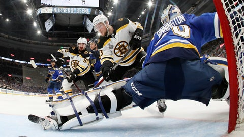 <p>               Boston Bruins center Charlie Coyle (13) scores a goal against St. Louis Blues goaltender Jordan Binnington (50) during the first period in Game 4 of the NHL hockey Stanley Cup Final Monday, June 3, 2019, in St. Louis. (Bruce Bennett/Pool via AP)             </p>