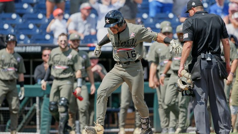 <p>               Vanderbilt's Austin Martin (16) stomps on home plate after hitting a two-run home run against Louisville in the seventh inning of an NCAA College World Series baseball game in Omaha, Neb., Sunday, June 16, 2019. (AP Photo/Nati Harnik)             </p>