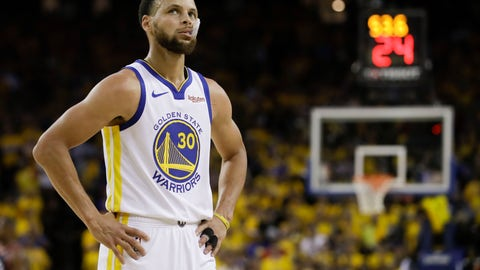 <p>               Golden State Warriors guard Stephen Curry (30) walks on the floor during the first half of Game 3 of basketball's NBA Finals against the Toronto Raptors in Oakland, Calif., Wednesday, June 5, 2019. (AP Photo/Ben Margot)             </p>
