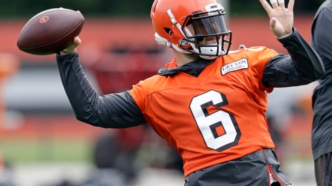 <p>               Cleveland Browns quarterback Baker Mayfield throws during an NFL football organized team activity session at the team's training facility, Thursday, May 30, 2019, in Berea, Ohio. (AP Photo/Tony Dejak)             </p>