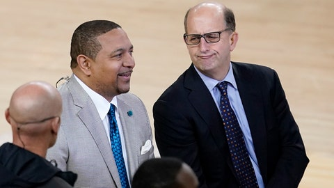 <p>               Mark Jackson, left, and Jeff Van Gundy talk before Game 4 of basketball's NBA Finals between the Golden State Warriors and the Toronto Raptors in Oakland, Calif., Friday, June 7, 2019. ABC/ESPN NBA analyst Jackson credits faith, confidence and longtime friendships with Van Gundy and Mike Breen as the main catalysts for his longevity and why he is working his 12th NBA Finals. (AP Photo/Tony Avelar)             </p>