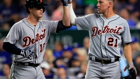 <p>               Detroit Tigers' Brandon Dixon (12) and JaCoby Jones (21) celebrate during the eighth inning of the team's baseball game against the Kansas City Royals at Kauffman Stadium in Kansas City, Mo., Wednesday, June 12, 2019. Dixon drove in Jones with a sacrifice fly. (AP Photo/Orlin Wagner)             </p>