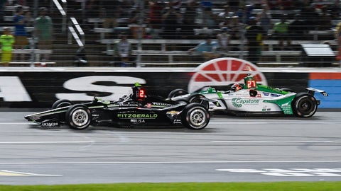 <p>               Josef Newgarden (2) leads Alexander Rossi (27) during the IndyCar auto race at Texas Motor Speedway, Saturday, June 8, 2019, in Fort Worth, Texas. Newgarden won the race. (AP Photo/Larry Papke)             </p>