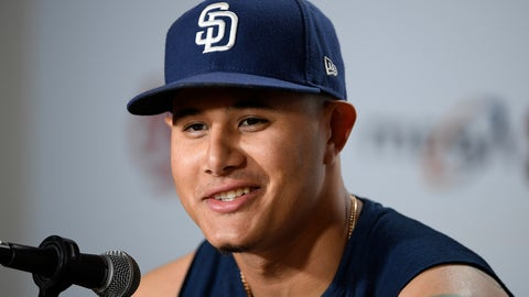 <p>               San Diego Padres' Manny Machado talks to the media before a baseball game against the Baltimore Orioles, Tuesday, June 25, 2019, in Baltimore. (AP Photo/Nick Wass)             </p>