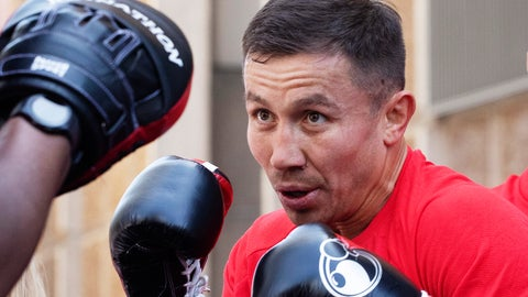 <p>               FILE - In this Tuesday, June 4, 2019, file photo, Gennady Golovkin, of Kazakhstan, boxes during a workout in New York. Golovkin faces Steve Rolls, of Canada, in a middleweight bout on Saturday in New York. (AP Photo/Mark Lennihan, File)             </p>