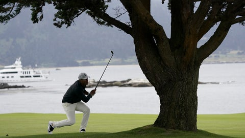 <p>               Brooks Koepka watches his shot from 18th fairway during the third round of the U.S. Open golf tournament Saturday, June 15, 2019, in Pebble Beach, Calif. (AP Photo/Carolyn Kaster)             </p>