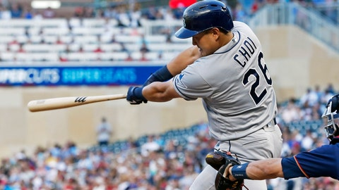 <p>               Tampa Bay Rays' Ji-Man Choi follows through on a single off Minnesota Twins pitcher Jake Odorizzi during the fourth inning of a baseball game Wednesday, June 26, 2019, in Minneapolis. (AP Photo/Jim Mone)             </p>