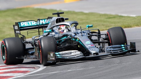 <p>               Mercedes driver Lewis Hamilton, of Britain, drives through the Senna Corner during qualifying for the Formula One Canadian Grand Prix auto race in Montreal, Saturday, June 8, 2019. (Graham Hughes/The Canadian Press via AP)             </p>