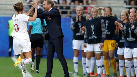 <p>               Norway's Caroline Graham Hansen, left, is congratulated by Norway coach Martin Sjogren after scoring her team's first goal during the Women's World Cup Group A soccer match between Norway and South Korea at the Stade Auguste-Delaune in Reims, France, Monday, June 17, 2019. (AP Photo/Alessandra Tarantino)             </p>