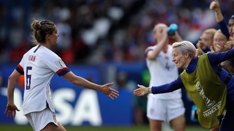 <p>               United States' Morgan Brian and Megan Rapinoe, right, celebrate after teammate Carli Lloyd scored their side's third goal during the Women's World Cup Group F soccer match between United States and Chile at Parc des Princes in Paris, France, Sunday, June 16, 2019. (AP Photo/Alessandra Tarantino)             </p>
