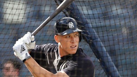 <p>               New York Yankees' Aaron Judge takes batting practice before a baseball game against the Houston Astros, Friday, June 21, 2019, in New York. (AP Photo/Kathy Willens)             </p>
