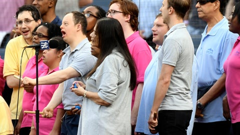 <p>               Members of Daniel's Music Foundation sing the national anthem prior to a baseball game between the New York Yankees and the Tampa Bay Rays, Monday, June 17, 2019, in New York. (AP Photo/Sarah Stier)             </p>