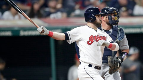 <p>               Cleveland Indians' Jason Kipnis, left, watches his RBI triple in the eighth inning in a baseball game against the Detroit Tigers, Friday, June 21, 2019, in Cleveland. Tigers catcher Bobby Wilson is at right. (AP Photo/Tony Dejak)             </p>