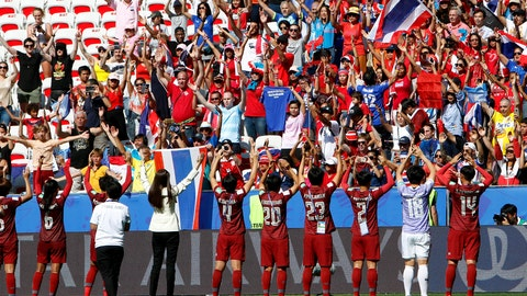 <p>               Thailands players celebrate in front of their supporters after the Women's World Cup Group F soccer match between Sweden and Thailand at the Stade de Nice in Nice, France, Sunday, June 16, 2019. Sweden defeated Thailand by 5-1. (AP Photo/Claude Paris)             </p>