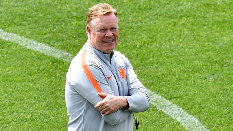 <p>               Netherlands coach Ronald Koeman watches up during a training session at their training ground in Braga, Portugal, Saturday, June 8, 2019. Netherlands will play Portugal in the UEFA Nations League final soccer match on Sunday in Porto, Portugal. (AP Photo/Martin Meissner)             </p>