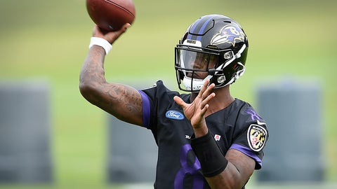 <p>               Baltimore Ravens quarterback Lamar Jackson throws a pass at the team's NFL football training facility in Owings Mills, Md., Wednesday, June 12, 2019 (AP Photo/Gail Burton)             </p>