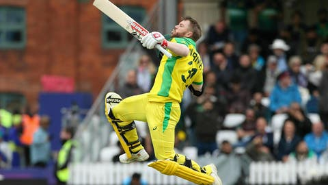 <p>               Australia's David Warner celebrates his century during the Cricket World Cup group stage match against Pakistan at the County Ground Taunton, England, Wednesday June 12, 2019. (David Davies/PA via AP)             </p>