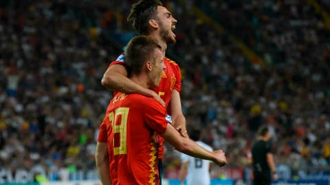 <p>               Spain's Dani Olmo jubilates after scoring the goal (2-0) with teammate Fabian Ruiz Pena during the Uefa European Under-21 Championship 2019 - Finals between Spain and Germany in Udine, Italy, Sunday, June 30, 2019. (Gabriele Menis/ANSA via AP)             </p>