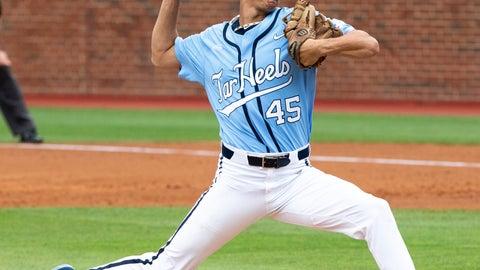 <p>               North Carolina's Austin Bergner (45) pitches during an NCAA super regional baseball game against Auburn in Chapel Hill, N.C., Sunday, June 9, 2019. (AP Photo/Ben McKeown)             </p>