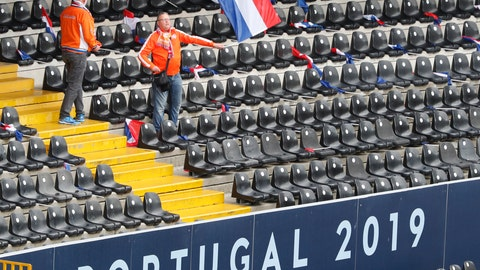 <p>               A Dutch soccer fan waves a state flag prior to the UEFA Nations League semifinal soccer match between Netherlands and England at the D. Afonso Henriques stadium in Guimaraes, Portugal, Thursday, Jun. 6, 2019. (AP Photo/Armando Franca)             </p>