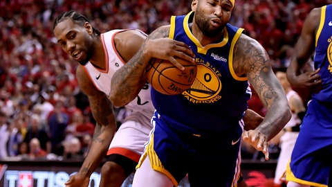 <p>               Toronto Raptors forward Kawhi Leonard (2) looks on as Golden State Warriors centre DeMarcus Cousins (0) stumbles with the ball during the second half of Game 2 of basketball's NBA Finals, Sunday, June 2, 2019, in Toronto. (Frank Gunn/The Canadian Press via AP)             </p>