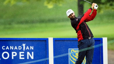 <p>               Canadian Adam Hadwin hits his tee shot on the 18th hole during the pro-am at the Canadian Open golf tournament, Wednesday, June 5, 2019, in Hamilton, Ontario. (Nathan Denette/The Canadian Press via AP)             </p>