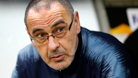 <p>               FILE - In this Thursday, May 2, 2019 file photo, Chelsea's coach Maurizio Sarri attends their Europa League, first leg semifinal soccer match against Eintracht Frankfurt in the Commerzbank Arena in Frankfurt, Germany. Maurizio Sarri has on Sunday, June 16 left Chelsea after one season to return to Italy to manage Juventus. The former Napoli coach has joined Serie A champion Juventus on a three-year contract to replace Massimiliano Allegri. (AP Photo/Michael Probst, file)             </p>