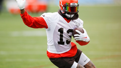 <p>               Cleveland Browns wide receiver Odell Beckham Jr. runs through a drill at the team's NFL football training facility in Berea, Ohio, Tuesday, June 4, 2019. (AP Photo/Ron Schwane)             </p>