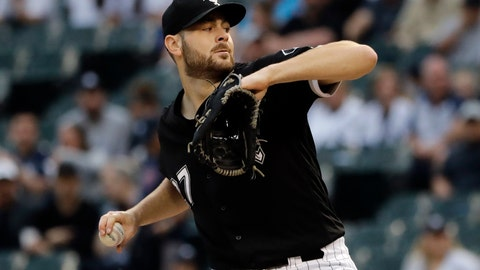 <p>               Chicago White Sox starting pitcher Lucas Giolito throws against the New York Yankees during the first inning of a baseball game in Chicago, Friday, June 14, 2019. (AP Photo/Nam Y. Huh)             </p>