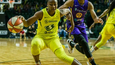 <p>               Seattle Storm's Jewell Loyd tries to get around Los Angeles Sparks' Alana Beard during a WNBA basketball game Friday, June 21, 2019, in Everett, Wash. (Olivia Vanni/The Herald via AP)             </p>