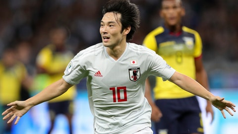 <p>               Japan's Shoya Nakajima celebrates after scoring his side's first goal against Ecuador during a Copa America Group C soccer match at the Mineirao stadium in Belo Horizonte, Brazil, Monday, June 24, 2019. (AP Photo/Ricardo Mazalan)             </p>