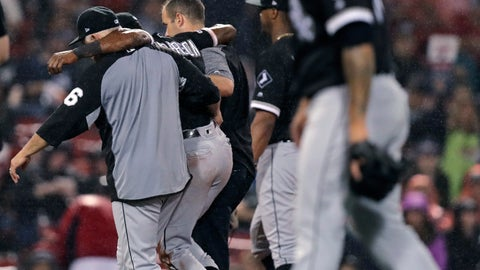 <p>               Chicago White Sox's Tim Anderson is helped from the field after an injury during the fifth inning of a baseball game against the Boston Red Sox at Fenway Park in Boston, Tuesday, June 25, 2019. (AP Photo/Charles Krupa)             </p>
