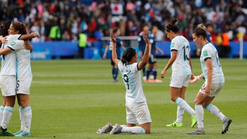 <p>               Argentina players react at the end Women's World Cup Group D soccer match between Argentina and Japan at the Parc des Princes in Paris, France, Monday, June 10, 2019. (AP Photo/Thibault Camus)             </p>